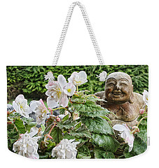 Weekender Tote Bag featuring the photograph Budda And Begonias by Denise Romano