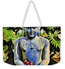 Weekender Tote Bag featuring the painting Buddha In Garden by Joan Reese