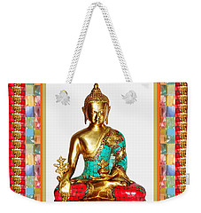 Buddha Sparkle Bronze Painted N Jewel Border Deco Navinjoshi  Rights Managed Images Graphic Design I Weekender Tote Bag