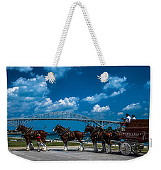 Budweiser Clydsdales And Blue Water Bridges Weekender Tote Bag