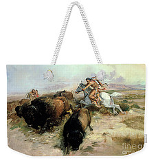 Buffalo Hunt Weekender Tote Bag by Charles Marion Russell