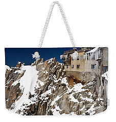 Weekender Tote Bag featuring the photograph building in Aiguille du Midi - Mont Blanc by Antonio Scarpi