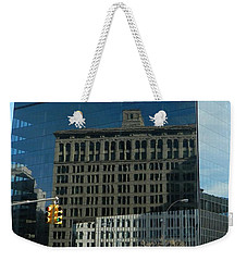 Weekender Tote Bag featuring the photograph Building Reflections Nyc by Emmy Marie Vickers