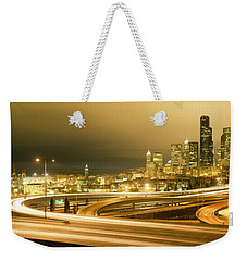 Buildings Lit Up At Night, Seattle Weekender Tote Bag by Panoramic Images