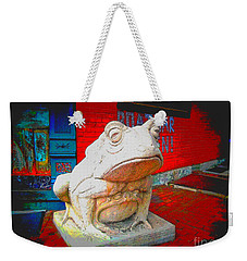 Weekender Tote Bag featuring the photograph Bull Frog Painted by Kelly Awad