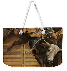 Bull Riding 1 Weekender Tote Bag by Don  Langeneckert