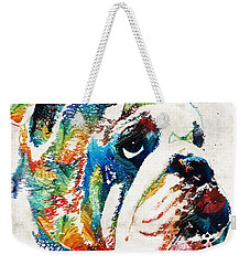 Bulldog Pop Art - How Bout A Kiss - By Sharon Cummings Weekender Tote Bag by Sharon Cummings