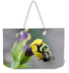 Weekender Tote Bag featuring the photograph Bumble Bee Making A Wish by Penny Meyers