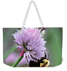 Weekender Tote Bag featuring the photograph Bumblebee On Clover by Barbara McMahon