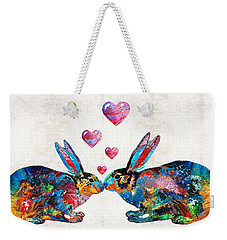 Bunny Rabbit Art - Hopped Up On Love - By Sharon Cummings Weekender Tote Bag by Sharon Cummings