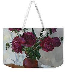 Burgundy Peonies Weekender Tote Bag