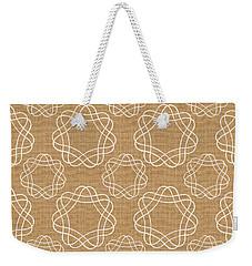 Burlap And White Geometric Flowers Weekender Tote Bag