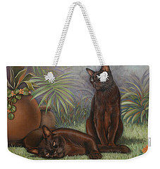 Weekender Tote Bag featuring the painting Burmese Beauty by Cynthia House