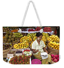Burmese Lady Selling Colourful Fresh Fruit Zay Cho Street Market 27th Street Mandalay Burma Weekender Tote Bag by Ralph A  Ledergerber-Photography