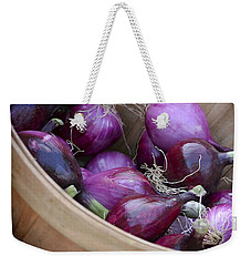 Weekender Tote Bag featuring the photograph Bushel Of Red Onions Farmers Market by Julie Palencia