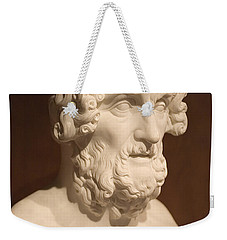 Weekender Tote Bag featuring the photograph Bust Of Homer by Mark Greenberg
