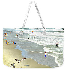 But Daddy Why Cant I Feed The Birds Weekender Tote Bag by Kathy Barney