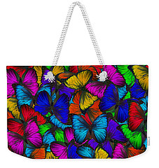 Weekender Tote Bag featuring the photograph Butterflies In Flight Panorama by Kyle Hanson