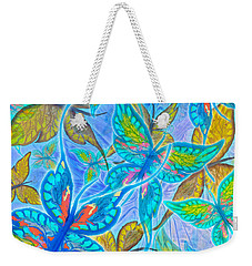 Weekender Tote Bag featuring the mixed media Butterflies On Blue by Teresa Ascone