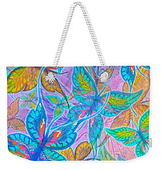 Weekender Tote Bag featuring the mixed media Butterflies On Lilac by Teresa Ascone