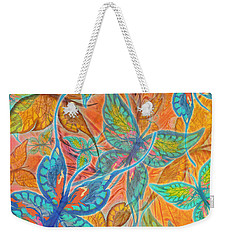 Weekender Tote Bag featuring the painting Butterflies On Tangerine by Teresa Ascone