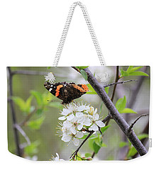 Weekender Tote Bag featuring the photograph Butterfly And Apple Blossoms by Penny Meyers