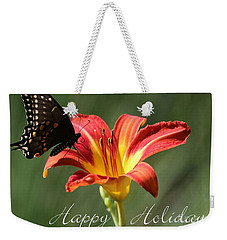 Butterfly And Lily Holiday Card Weekender Tote Bag