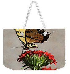 Weekender Tote Bag featuring the photograph Butterfly And Maltese Cross 1 by Aaron Aldrich