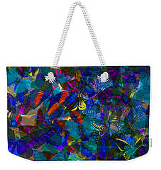 Weekender Tote Bag featuring the photograph Butterfly Collage Blue by Robert Meanor