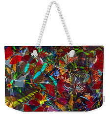Weekender Tote Bag featuring the photograph Butterfly Collage Red by Robert Meanor