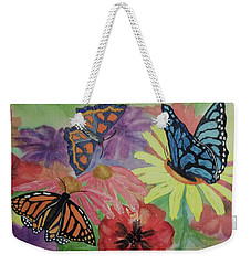 Weekender Tote Bag featuring the painting Butterfly Garden by Ellen Levinson