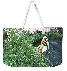 Weekender Tote Bag featuring the photograph Butterfly Garden Ladybug Flowers Green Theme by Navin Joshi