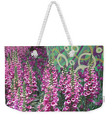 Weekender Tote Bag featuring the photograph Butterfly Garden Purple White Flowers Painted Wall by Navin Joshi