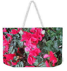 Weekender Tote Bag featuring the photograph Butterfly Garden Red Exotic Flowers Las Vegas by Navin Joshi