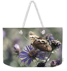 Butterfly In Pastel - Buckeye On Asters Weekender Tote Bag by Jane Eleanor Nicholas