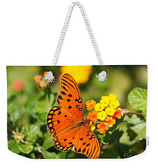 Butterfly In The Glades - Gulf Fritillary Weekender Tote Bag by Christiane Schulze Art And Photography