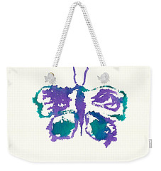 Weekender Tote Bag featuring the painting Butterfly Inkblot by Frank Bright