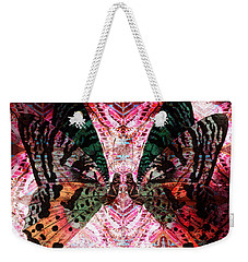 Weekender Tote Bag featuring the digital art Butterfly Kaleidoscope by Kyle Hanson