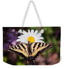 Weekender Tote Bag featuring the painting Butterfly Kisses by Omaste Witkowski