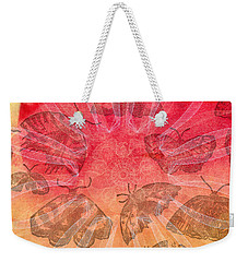 Weekender Tote Bag featuring the digital art Butterfly Letterpress Watercolor by Kyle Hanson