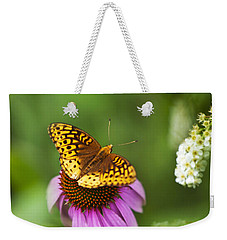 Weekender Tote Bag featuring the photograph Butterfly Love by Christina Rollo