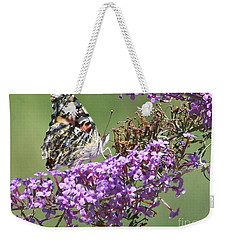 Weekender Tote Bag featuring the photograph Painted Lady Butterfly by Eunice Miller