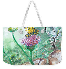 Butterfly On Flower  Weekender Tote Bag