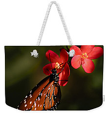 Butterfly On Red Blossom Weekender Tote Bag
