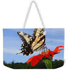 Butterfly On Red Daisy Weekender Tote Bag