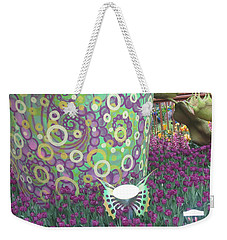 Weekender Tote Bag featuring the photograph Butterfly Park Garden Painted Green Theme by Navin Joshi