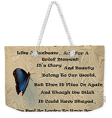 Butterfly Poem Weekender Tote Bag by Aimee L Maher Photography and Art Visit ALMGallerydotcom