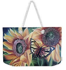 Weekender Tote Bag featuring the painting Butterfly Series 5 by Dianna Lewis