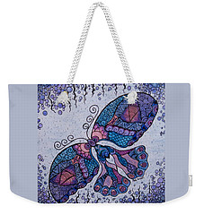 Weekender Tote Bag featuring the drawing Butterfly Tangle 2 by Megan Walsh