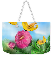 Weekender Tote Bag featuring the digital art Butterfly Triplets by Christine Fournier